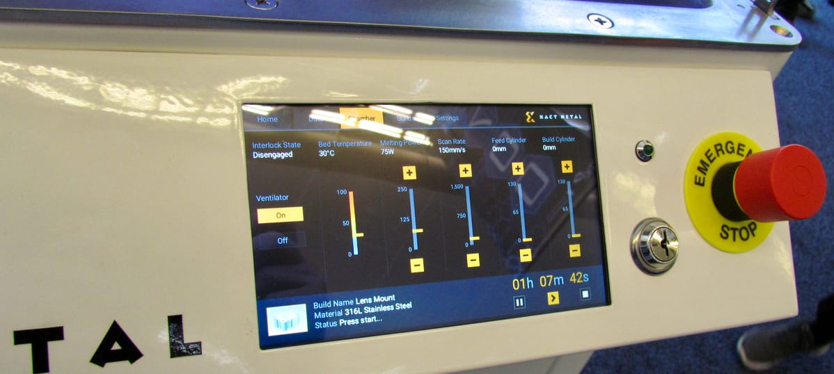 The control panel of Xact Metal's XM200 small format 3D metal printer
