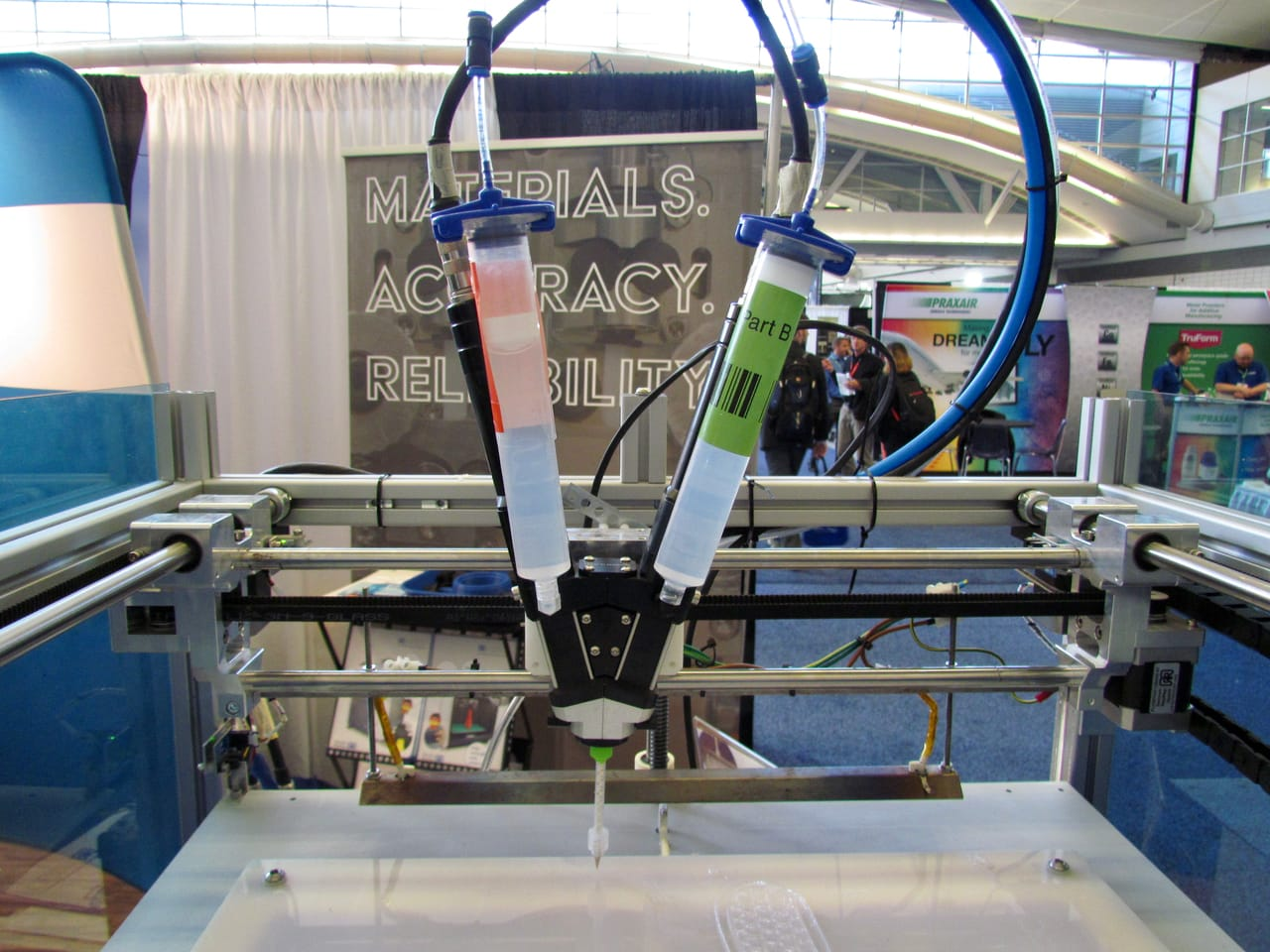 Two materials are mixed to create the extrusion on the German RepRap silicone 3D printer