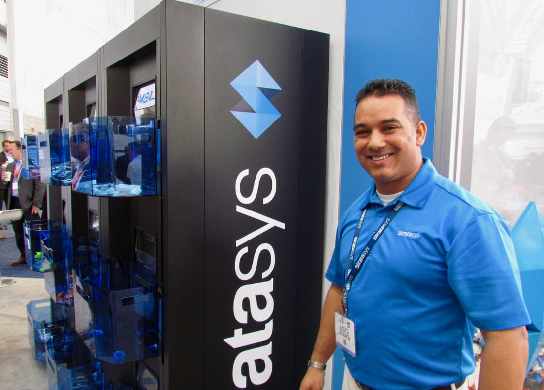 Stratasys' AJ Santiago with the new Continous Build Demonstrator