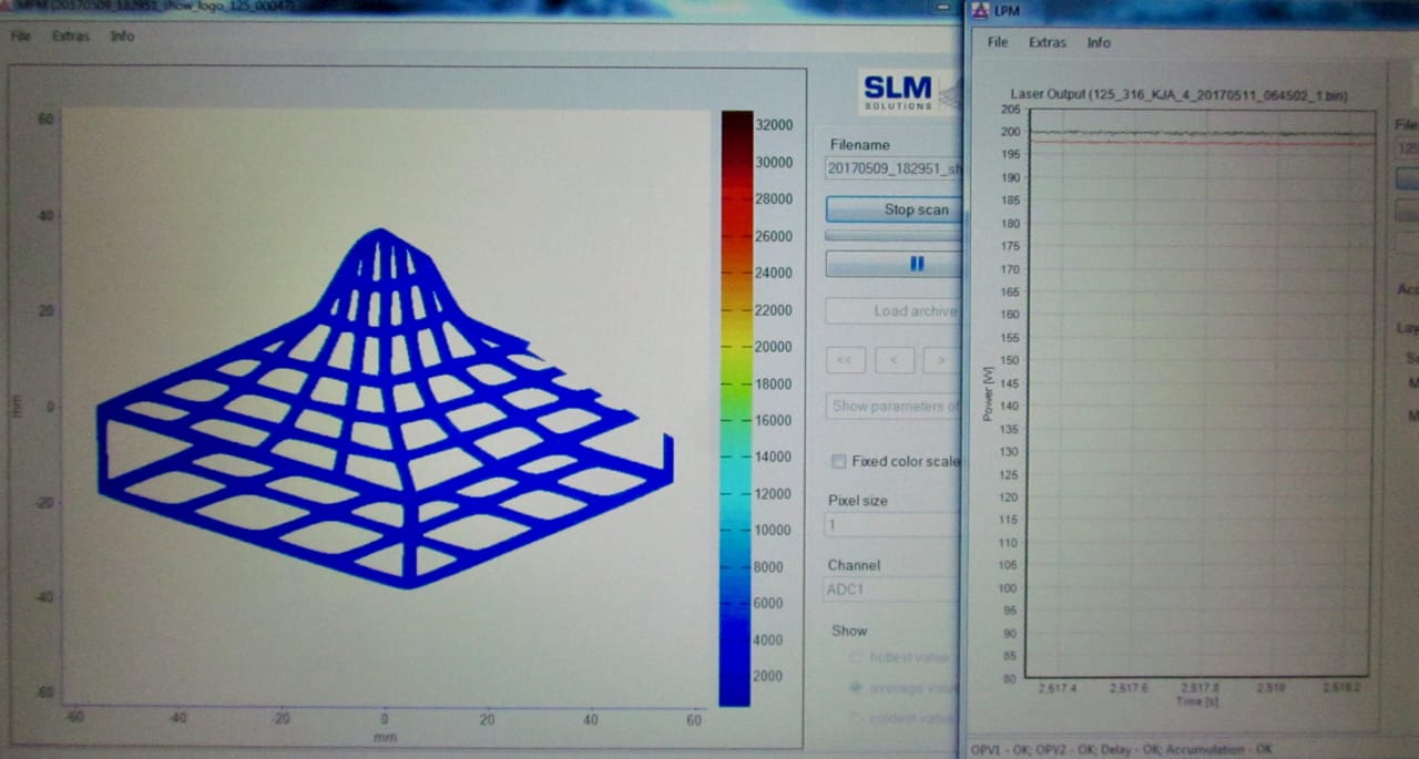 A view of SLM Solution's 3D metal printer melt pool monitor. You can see the laser output in real time on the right side