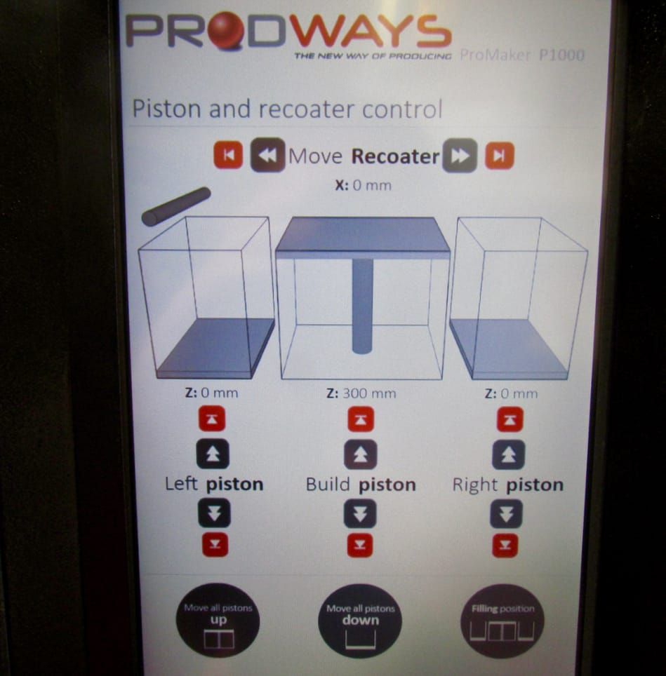 One of the easy to use control panels screens on the Prodways P1000 SLS 3D printer