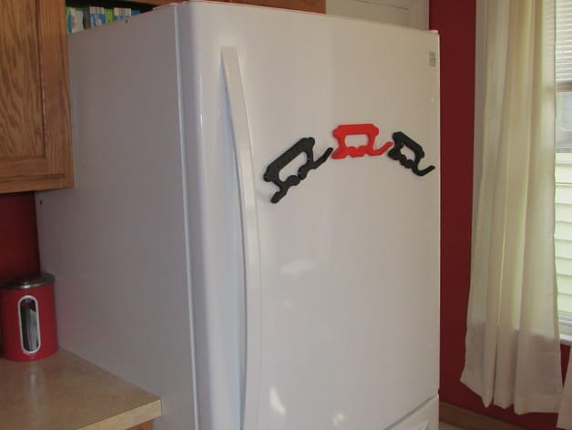 Magnets can hold the 3D printed Lugger on your fridge