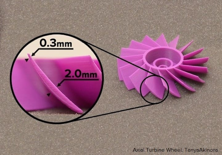 A 3D printed propellor showing how Simplify3D's new variable extrusion size feature works