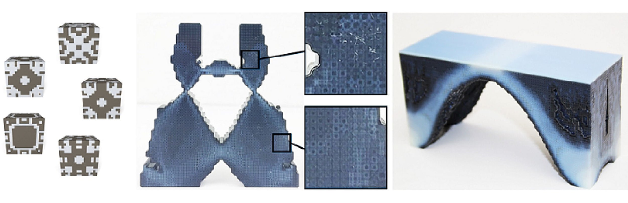 Microstructures (left) are combined together (middle) to create functional objects (right)