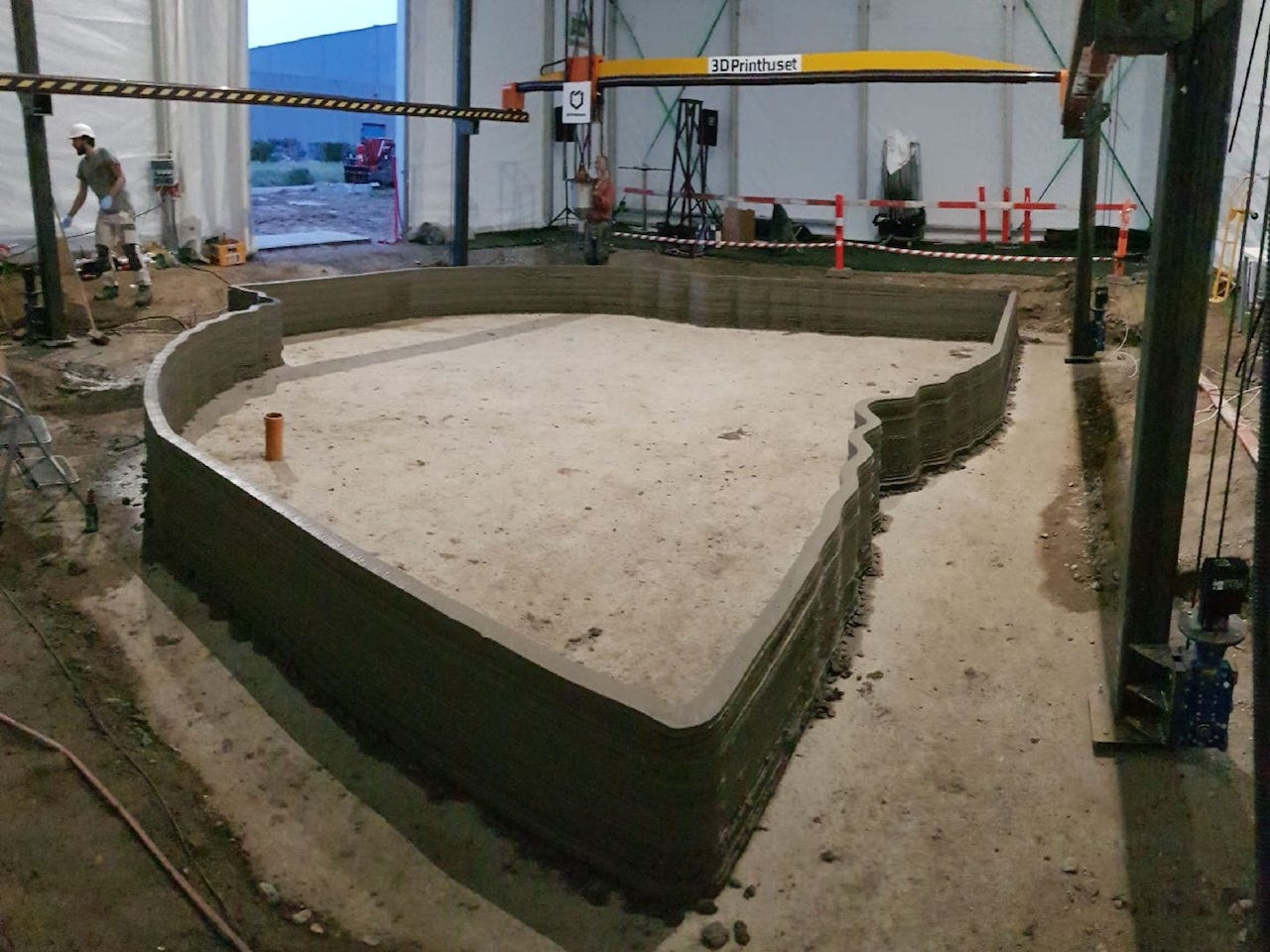 Completed lower section of Copenhagen's first 3D printed building