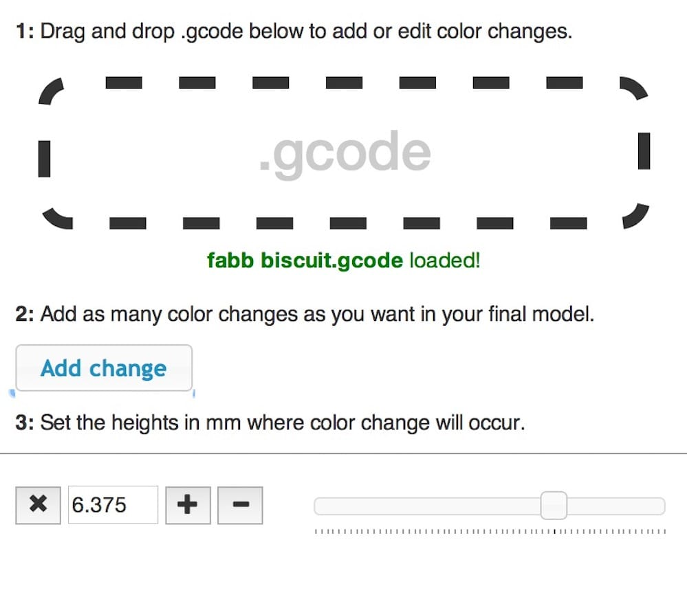 Detail of Prusa's ColorPrint utility that allows you to insert a pause into GCODE for a programmed filament swap