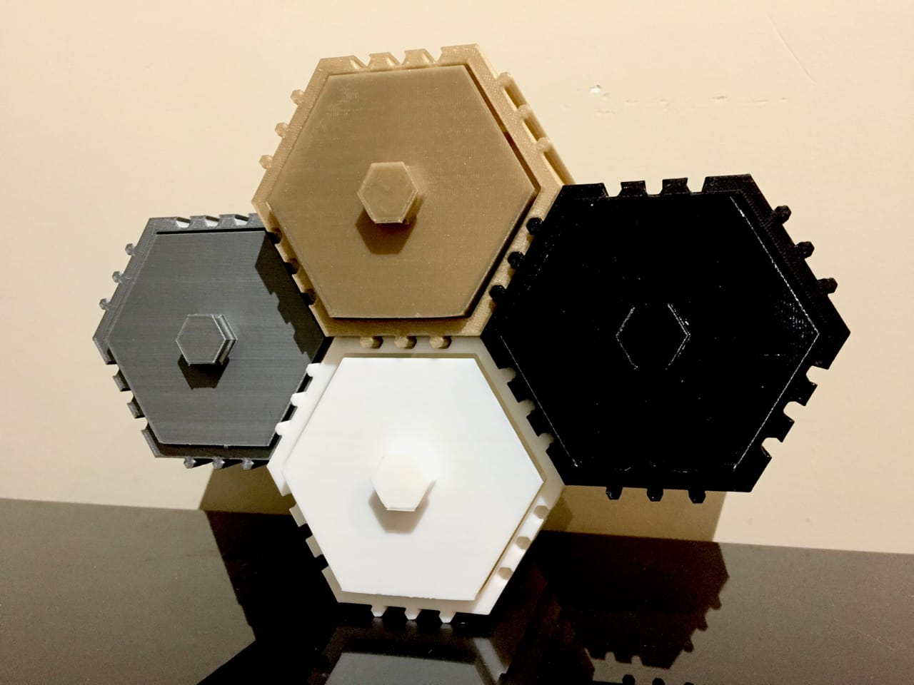 The HIVE stackable drawer system, with elements 3D printed on different machines