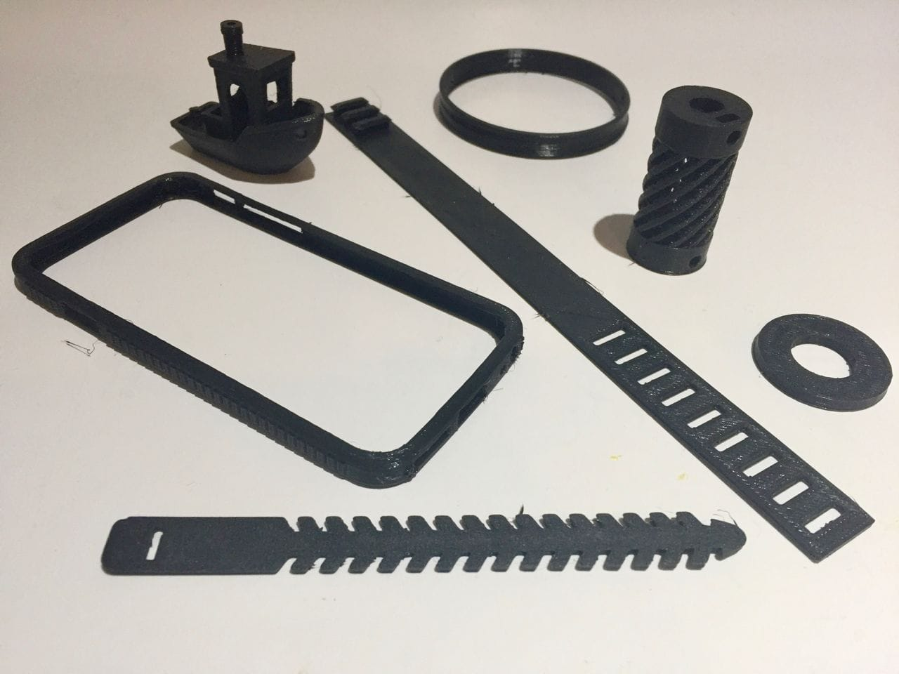 A number of functional flexible objects made with Fiberlogy's Fiberflex 40D 3D print material