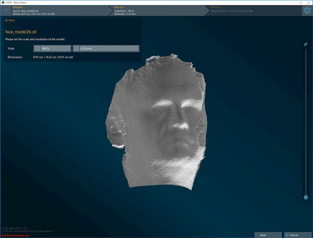 An ugly 2D face scan was mostly corrected with CUR3D to a printable state