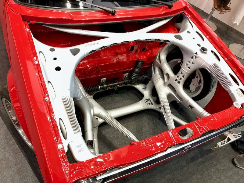 A sophisticated front-end structure installed in a classic VW