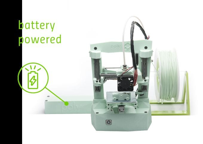 The portable Poly 3D printer with attached battery unit