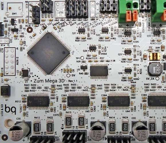 A typical controller board on which you might find Marlin powering a desktop 3D printer