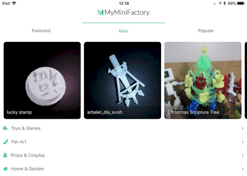 A peek at the home screen of the new MyMiniFactory app