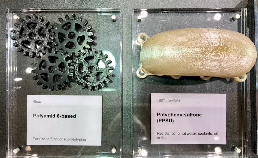 3D printed samples using some of BASF's unusual materials