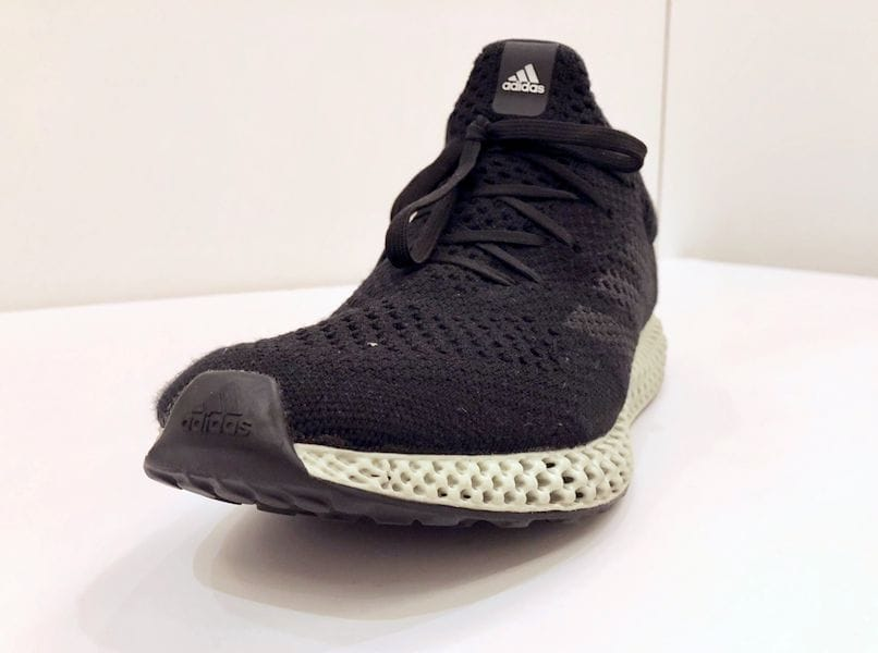 The new FUTURECRAFT 4D 3D printed shoe. Note official Adidas logos
