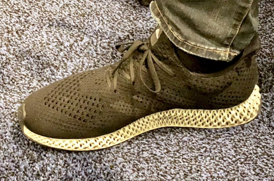 The 3D printed FUTURECRAFT 4D shoe from Adidas looks pretty good when worn