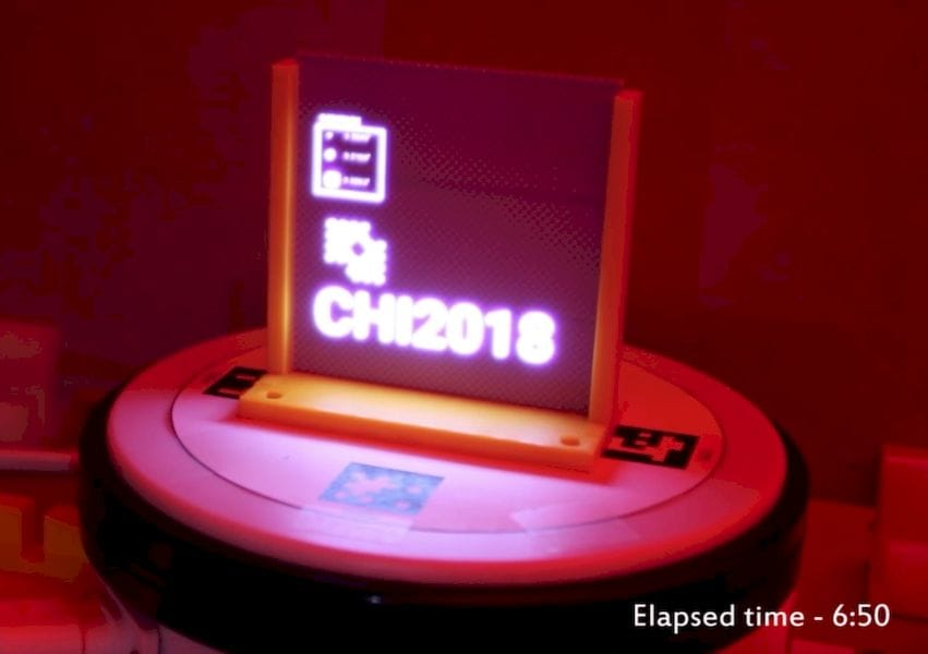 Selectively illuminating a color changing set of 3D printed pixel by MIT. Note elapsed time