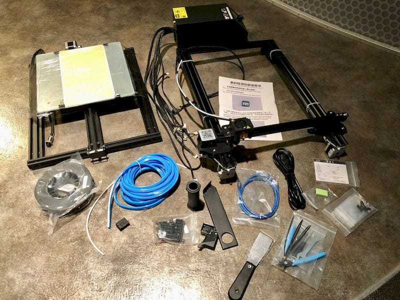 All the pieces you get with the partly assembled Creality CR-10S desktop 3D printer