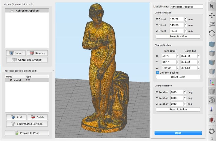 The 3MF file launched directly in Simplify3D without conversion to STL