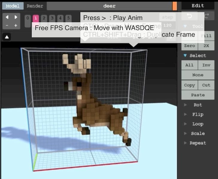 Building an animated 3D deer in MagicaVoxel