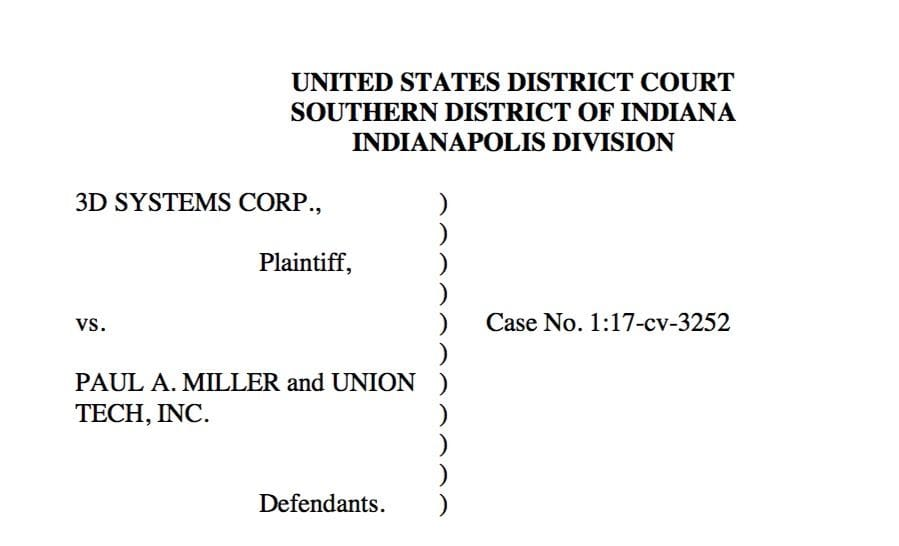 Header of the legal complaint from 3D Systems to Union Tech