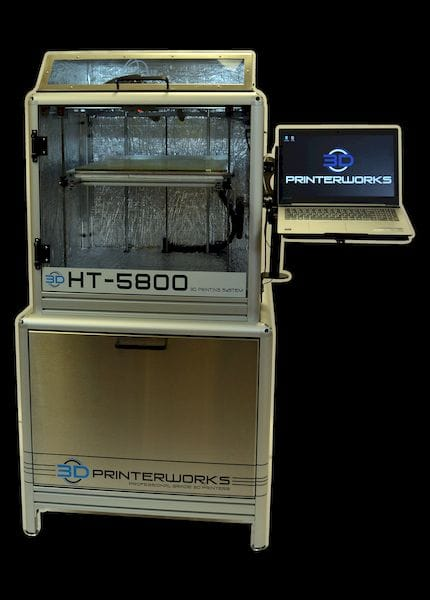 A view of the HT 5800 with integrated cabinet / stand