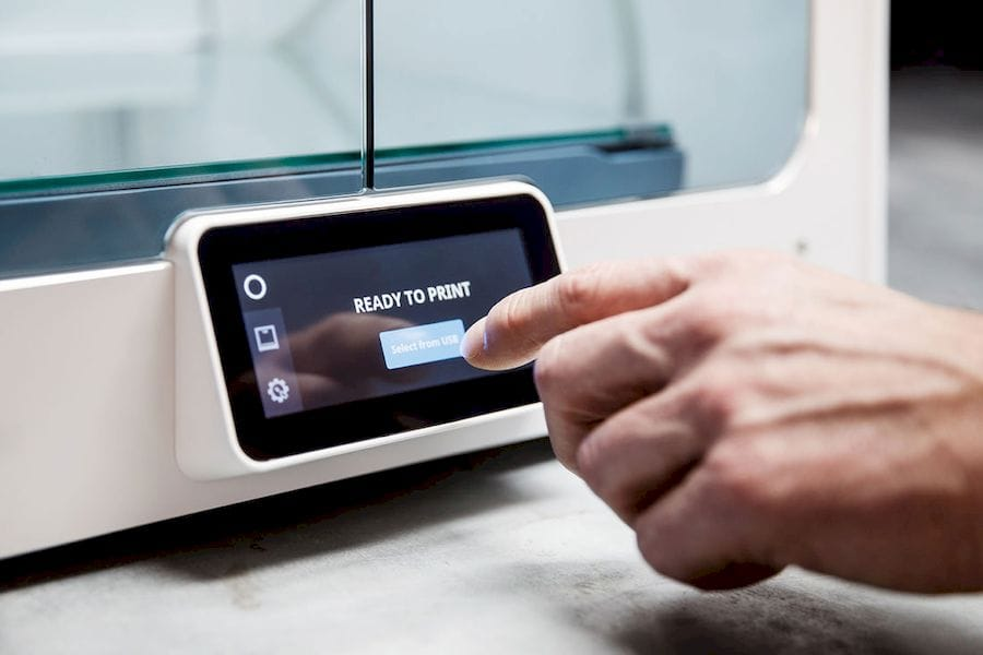 The color touch screen on the new Ultimaker S5 3D printer