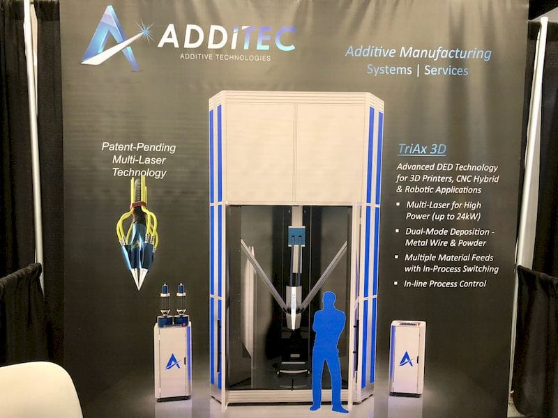 The large-scale 3D metal printer concept from Additec. Note size of the blue guy