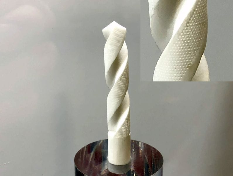 An unusual 3D printed vented ceramic drill bit by XJET