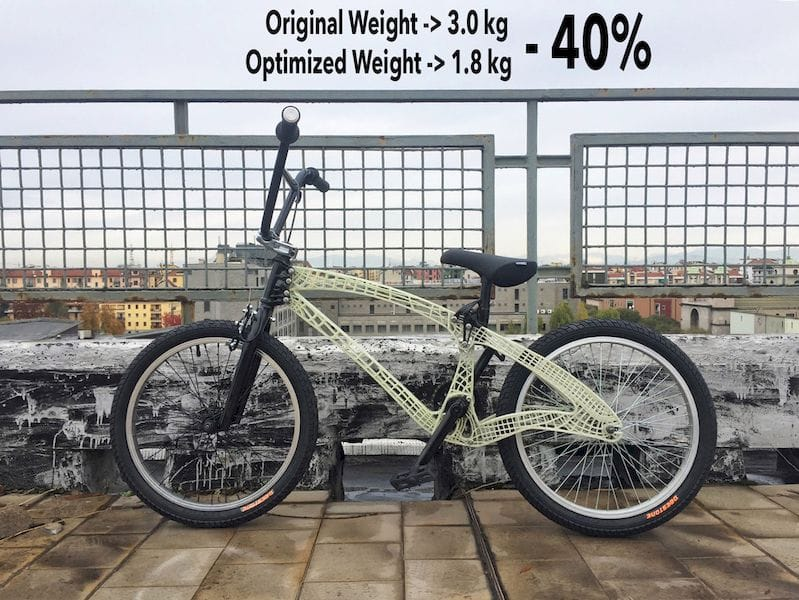 A practical example of Moi's 3D printing capabilities: a much lighter bike frame