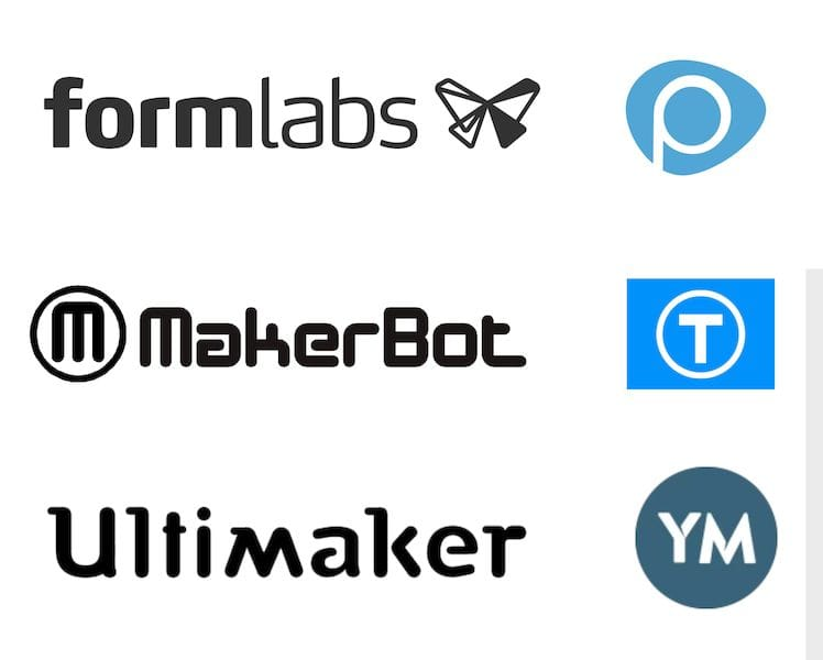 Three 3D printing companies and their corresponding 3D model repositories