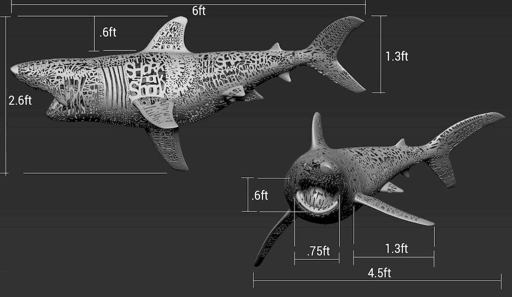 Dimensions of the Emptiness of Shark 3D print