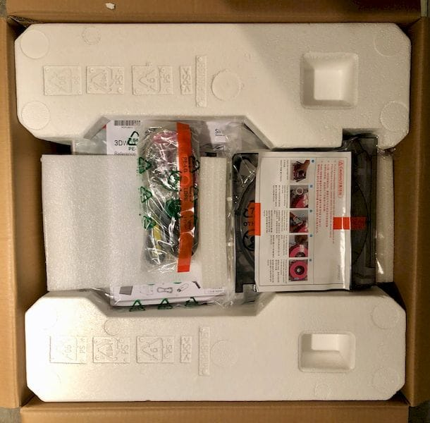 Neatly packed inside the 3DWOX 1 desktop 3D printer box