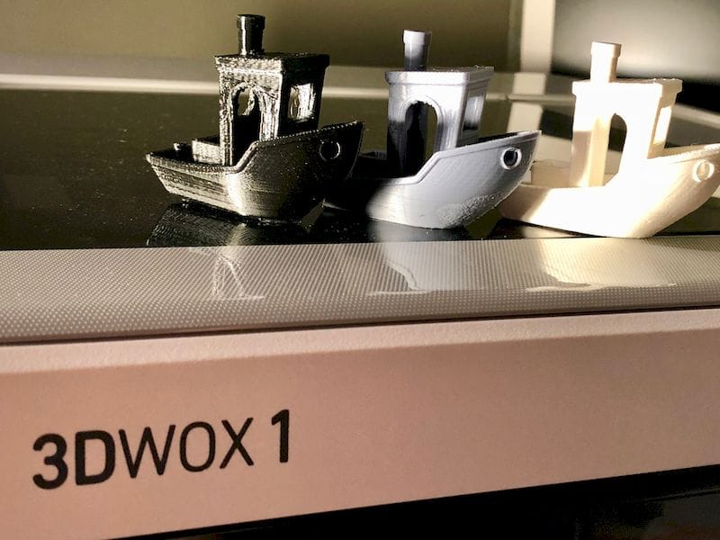 Three prints on the 3DWOX 1 desktop 3D printer in third party PET, PLA and ABS