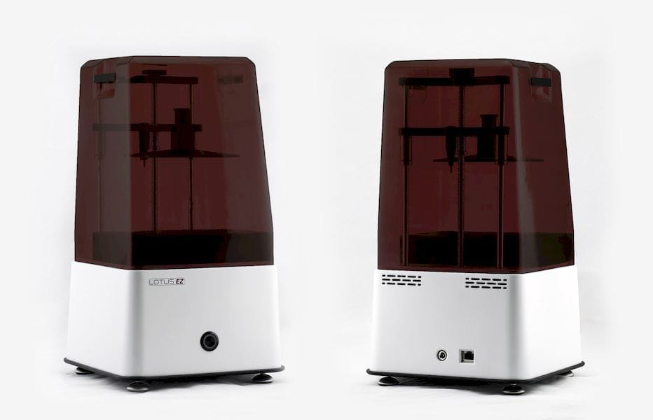 Front and back view of the new Lotus EZ LCD SLA 3D Printer [Source: Lotus 3D Printers]