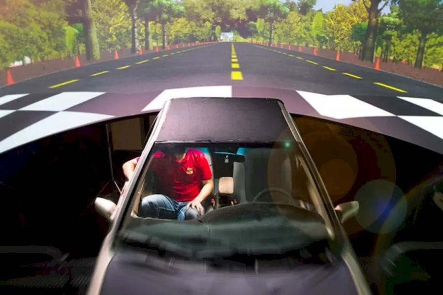 The driving simulator in UB's Motion Simulation Laboratory. (Image courtesy of Douglas Levere and UB.)