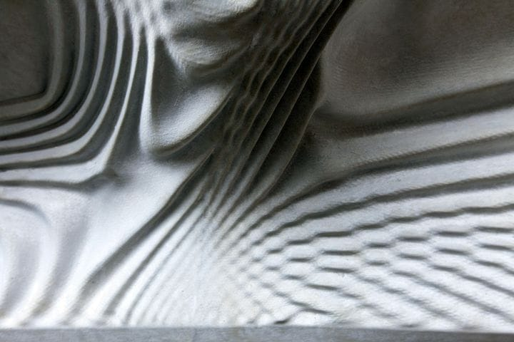 A detailed view of a section from the Smart Slab 3D print-assisted concrete ceiling [Source: Dezeen]