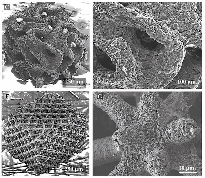 Examples of 3D printed graphene microstructures [Source:DOI: 10.1039/c8mh00668g]