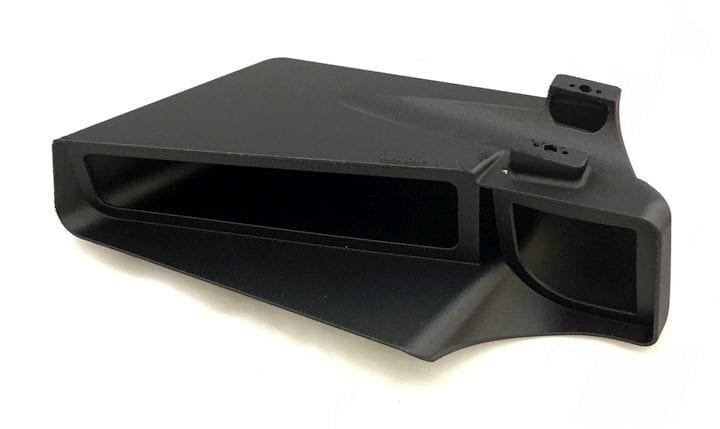 A 3D printed part made from a carbon fiber - nylon material on Stratasys' new 380mc Carbon Fiber Edition [Source: Stratasys]