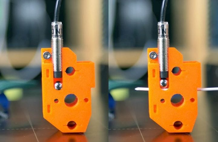 Ingenious simple mechanical method for detecting filament [Source: Prusa Printers]