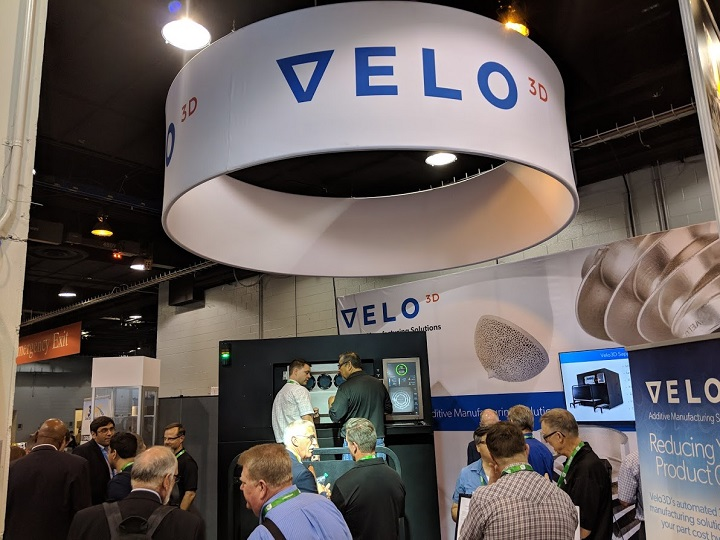 Velo3D had no problem filling its far-off booth in the back of the North Hall