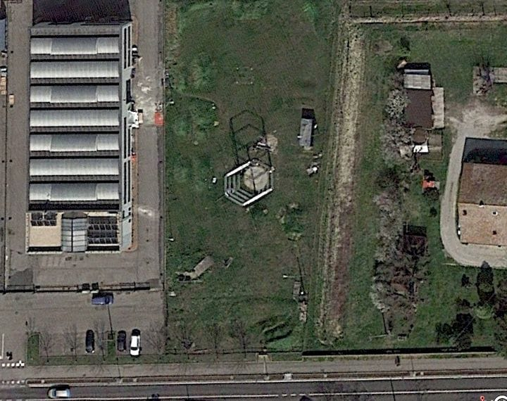 Satellite view of WASP's construction printer testing area [Source: WASP]