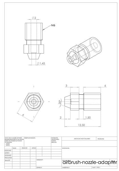 Airbrush nozzle adapter design for 3D printers [Source: Well Engineered]