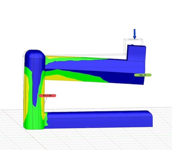 A part undergoing static stress simulation in Autodesk Fusion 360 [Source: Fabbaloo]