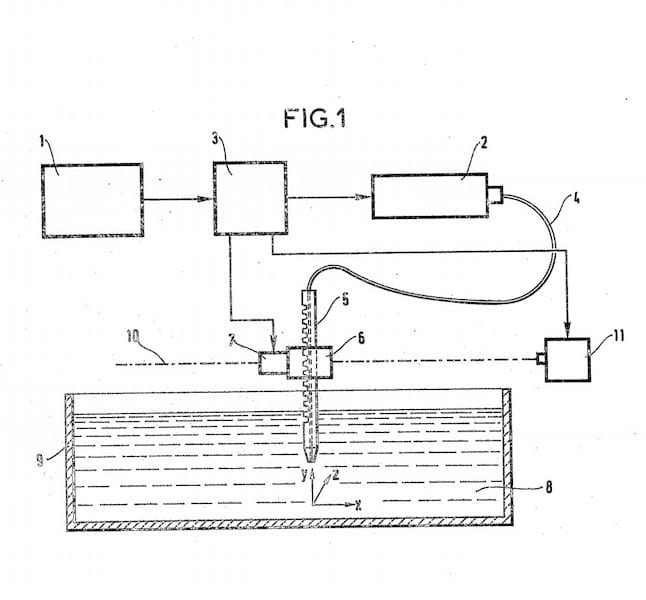 Diagram for a form of SLA 3D printing from a 1984 French patent [Source: INPI]