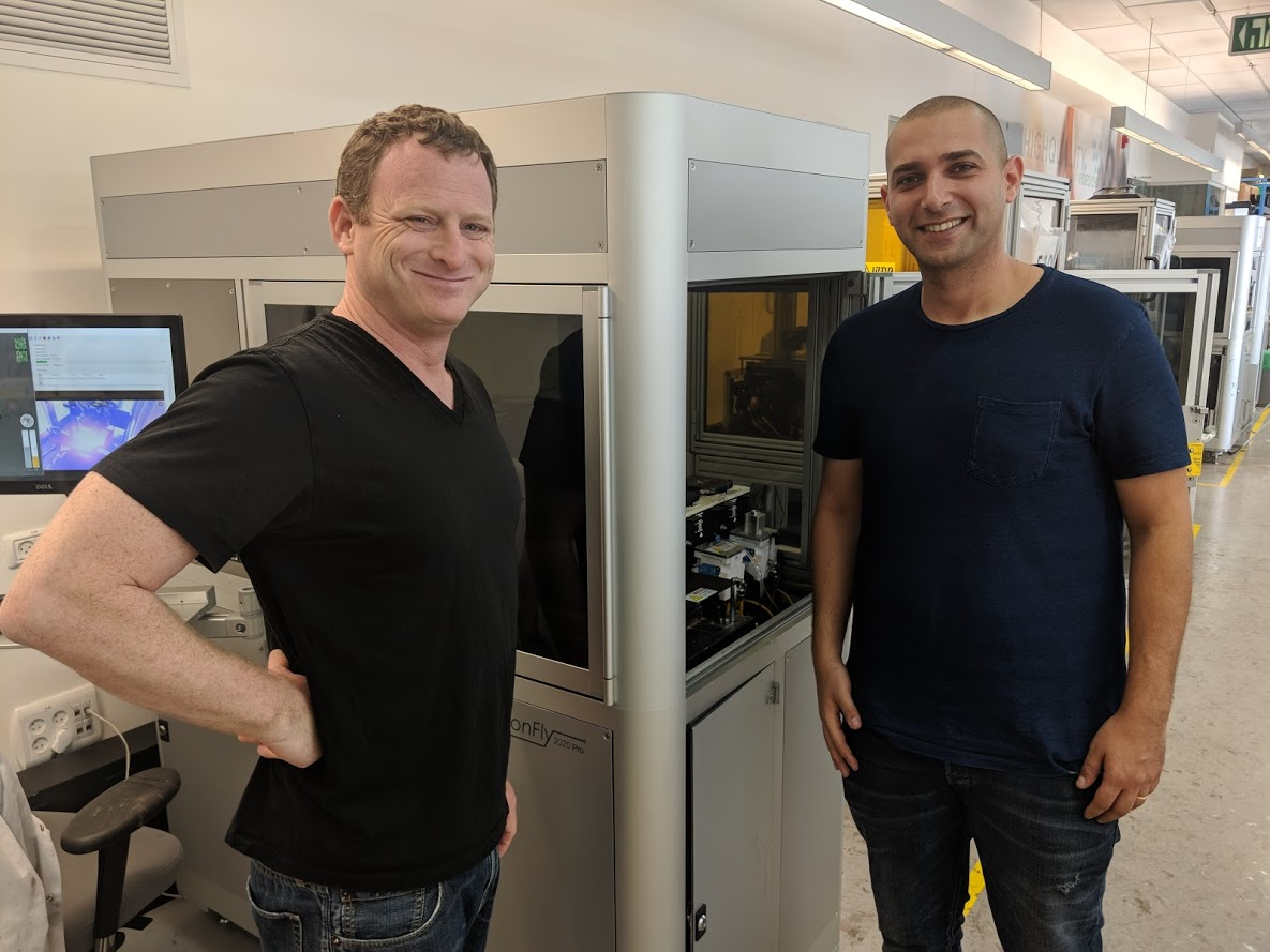 Amit Dror (left) and Yoav Rozanovich with a running DragonFly 2020 Pro 3D printer