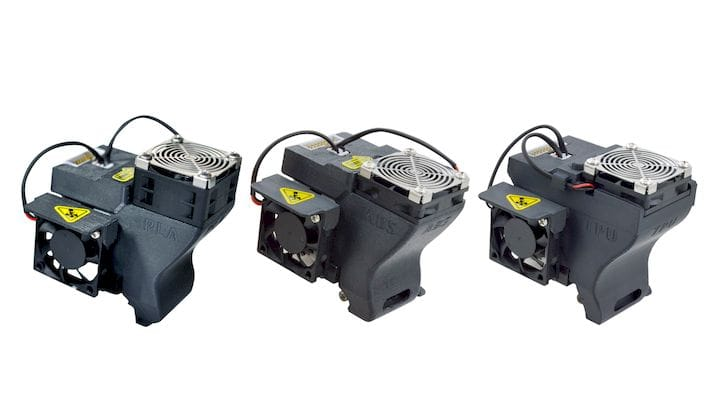 Three different extruders for the UP300 [Source: Tiertime]
