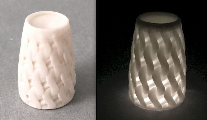 A translucent 3D print made on a resin machine [Source: Tethon 3D]