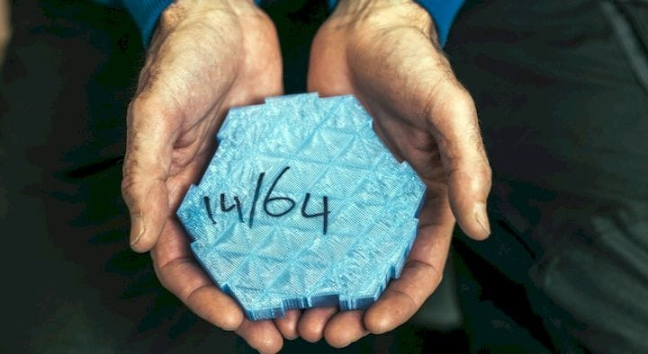 """A 3D printed """"hexcore"""" block made from recycled plastics [Source: Clean2Antarctica]"""