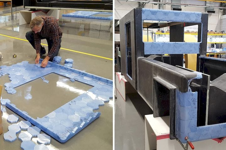 Assembling the Solar Voyager using 3D printed blocks from recycled material [Source: Clean2Antarctica]